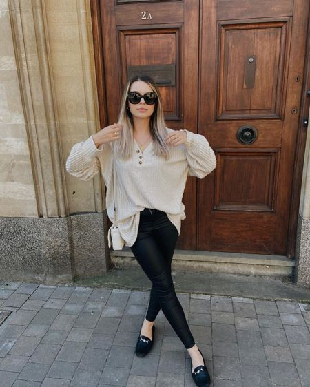 Street style fashion, loungewear, missguided, leather leggings, ootd, neutral fashion, outfit of the day, style blogger http://liketk.it/3hOxV #liketkit @liketoknow.it