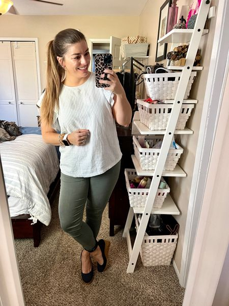 Oh hey spring. I see you! My favorite denim freshened up for the new season with a new shirt and my favorite wedges? Don't mind if I do!    #LTKSeasonal #LTKshoecrush #LTKworkwear