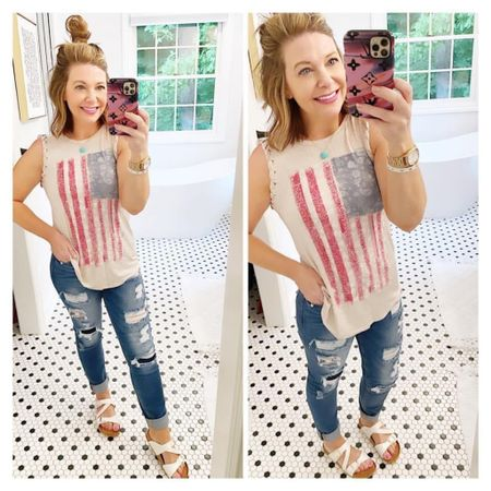 Good Morning!!!  YAY! My flag tank is now $12.50! I'm wearing an XS, cute knotted detail at the arms  KanCan Jeans, I don't normally like super distressed jeans but theres some awesome detail that looks like patches on these and I thought they were cute  Sandals, ON SALE! , TTS  Xo,Brooke  #LTKsalealert #LTKshoecrush #LTKstyletip