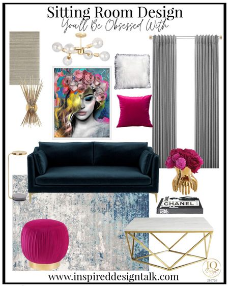 Living room update with modern home decor. Neon light, navy velvet sofa, couch, living room decor, living room inspiration, side table, wallpaper, bar cabinet, candles, wall sconce.  You can instantly shop my looks by following me on the LIKEtoKNOW.it shopping app   #LTKstyletip #LTKhome #LTKbeauty