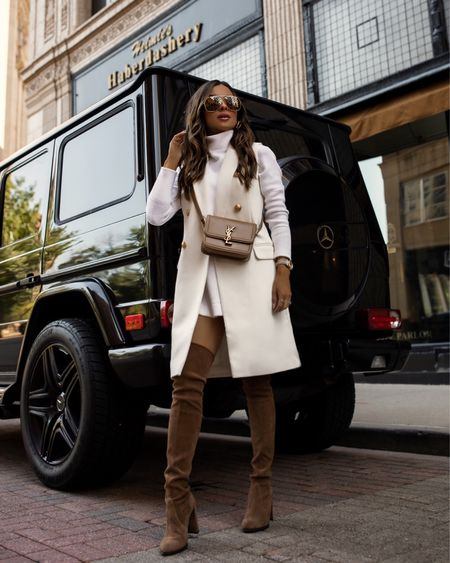 Fall outfit from express Express white blazer coat Free People white tunic sweater on sale at Shopbop, wearing a small Fendi sunglasses on sale at Cettire  Stuart Weitzman over the knee brown boots   #LTKSeasonal #LTKunder100 #LTKstyletip