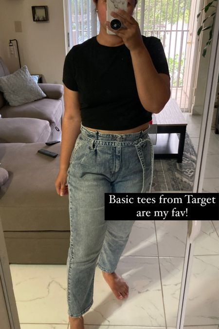 Target basics : tshirts! They have the best basic tees! Love this cropped one from Wild fable  Target style // target basics // fall style // fall looks  #LTKstyletip #LTKunder50 #LTKsalealert