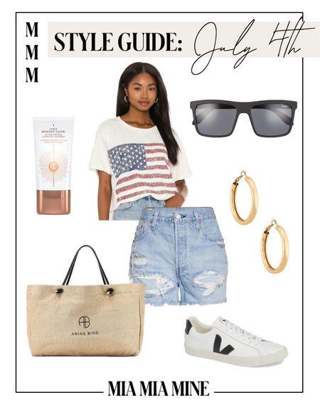 4th of July outfit  American flag tee Levi's denim shorts on sale Veja sneakers Anine Bing tote Quay sunglasses   #july4  #LTKstyletip #LTKSeasonal #LTKunder100