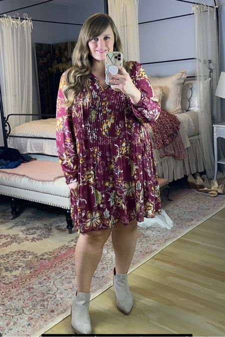 One of my favorite fall dresses and it's under $20! Size up a half size in the booties!