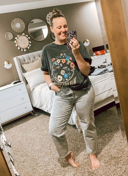 Target's new denim + tees for fall are my jam! I typically size up 1-2 sizes in their pants and 1 size in their tees for a looser fit! . . . . . . Target style // Target fashion // Target finds // Target denim // Target jeans // jeans // 90s denim // 90s jeans // mom jeans // distressed denim // distressed jeans // destroyed denim // destroyed jeans // body tee // graphic tees // basic tee // universal thread // wild fable // baggy jeans // oversized tee // fall outfit // fall outfits // coat // jacket // quilted jacket   #LTKstyletip #LTKsalealert #LTKSeasonal