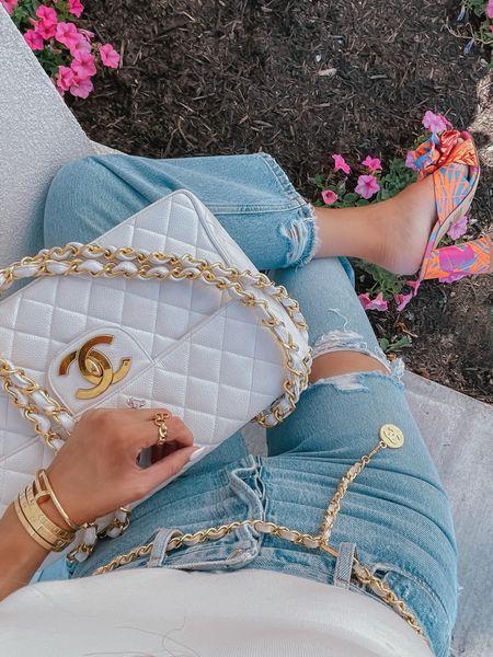 http://liketk.it/3eMhA #liketkit @liketoknow.it #LTKshoecrush #LTKunder100 #LTKitbag moms jeans, straight leg jeans, distressed denim, Chanel bag, white Chanel bag, block heels, summer shoes, Emily Ann Gemma