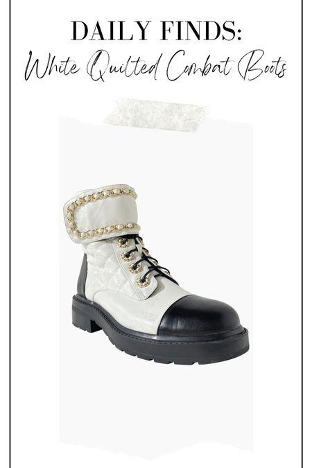 White quilted combat boots, combat boots, Chanel dupes, Chanel combat boot dupes, white boots   #LTKshoecrush #LTKunder100 #LTKstyletip