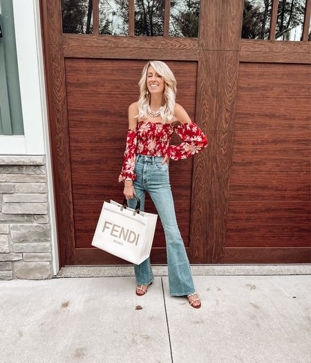 Date night outfit idea Flare jeans Abercrombie high rise flare denim  Cropped top Smocked top and tendu sunshine tote  #LTKSeasonal #LTKitbag