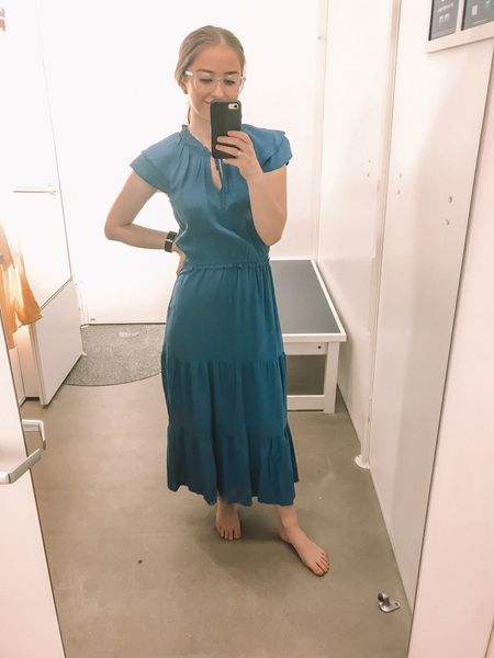 This Old Navy spring dress is brighter in person! I love the maxi/midi length of it! The blue color is so pretty and it fits true to size. Not see through either! #LTKunder100 #LTKunder50 #LTKstyletip #LTKsalealert   http://liketk.it/2AoJ4 #liketkit @liketoknow.it