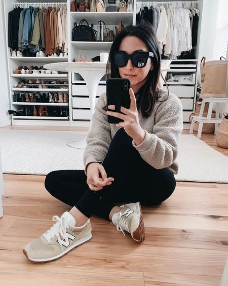 Everlane raglan fleece sweatshirt.  Sweatshirt- Everlane small (go up a size or 2) Leggings- Everlane xs Sneakers- New Balance for J.Crew 6  http://liketk.it/36rc7 @liketoknow.it #liketkit