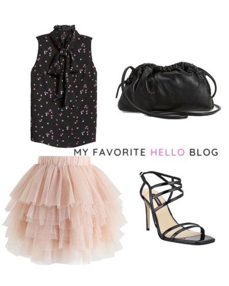 Tulle skirt date night. Tulle skirt with black top and shoe http://liketk.it/3gcQq #liketkit @liketoknow.it #tulleskirt #datenight #gno  #LTKunder100 #LTKstyletip #LTKunder50