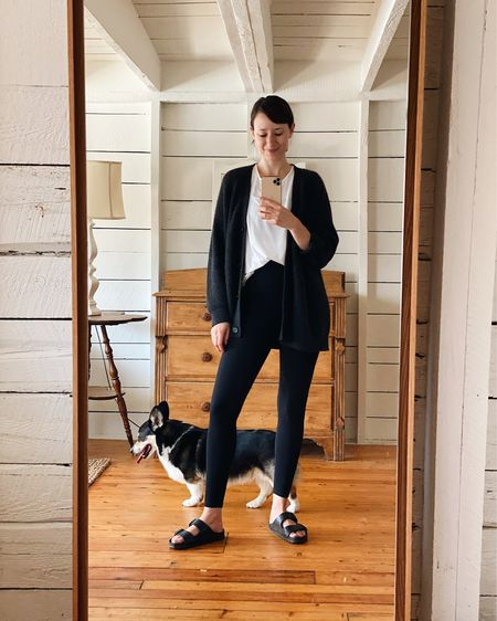 Ready for my workout with the fetcher extraordinaire    Cardigan - Jenni Kayne - Sized down - Use LEE15 for 15% Off White Tee - old Leggings & Bra (not shown) - Everlane - My favourite! Sandals - EVA by Birkenstock - I wear the 37 (I'm typically 7/7.5 US in shoes)
