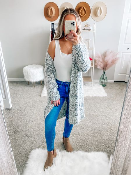 BLONDEBELLE for 20% off my cardigan  . . . Long cardigan, cardigan, fall, fall style, fall outfits, pink lily boutique, booties    #LTKunder50 #LTKstyletip #LTKSeasonal