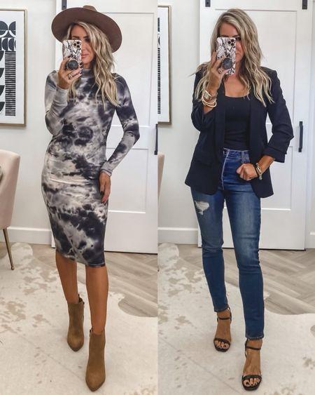 Fall outfit ideas  Sz small in dress Sz small blazer  Small tank  Sz 4 jeans  Booties and heels tts   #LTKshoecrush #LTKstyletip #LTKunder50