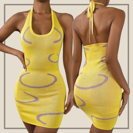 Graphic pattern halter sweater dress  #LTKstyletip #LTKunder100 #LTKunder50