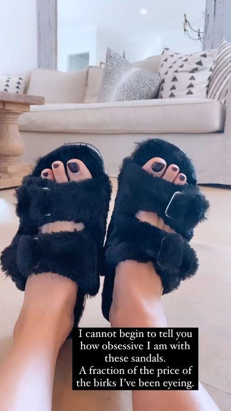 cork bottom fur lined sandals under $25  #LTKSeasonal #LTKunder50 #LTKshoecrush
