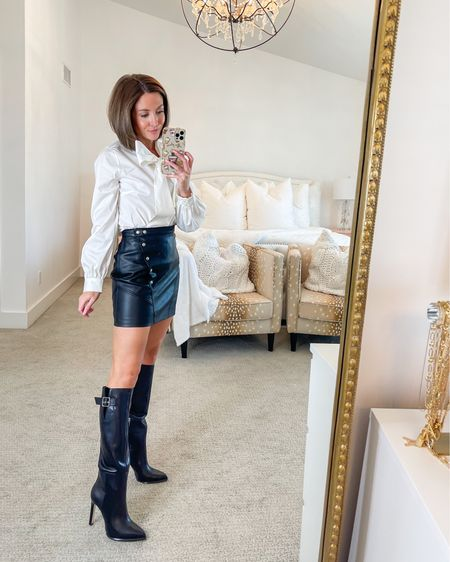 halogen white tie neck poplin shirt (tts, xs) blanknyc faux leather skirt (tts) paige knee high boots (tts)   #LTKshoecrush #LTKsalealert #LTKstyletip