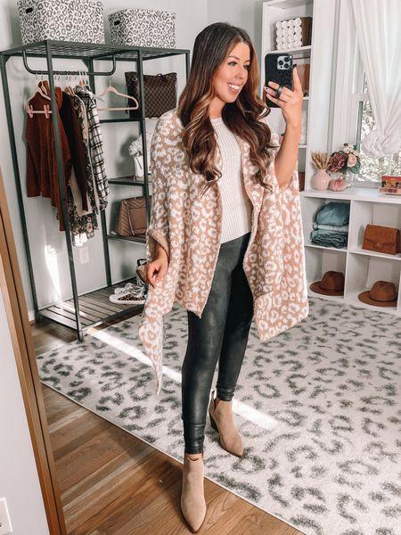 Fall Walmart outfit Walmart cozy wrap Faux leather leggings   #LTKstyletip #LTKunder50 #LTKSeasonal