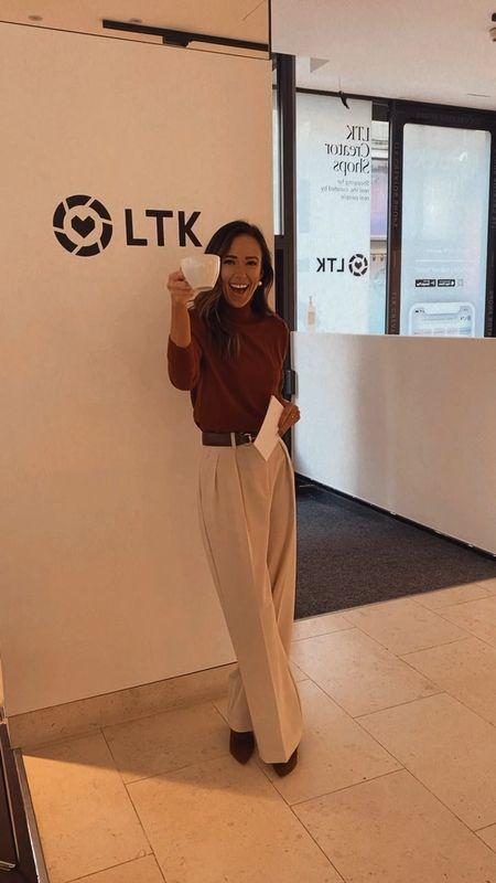 wide leg pant, wide leg trouser, turtleneck  #LTKSeasonal