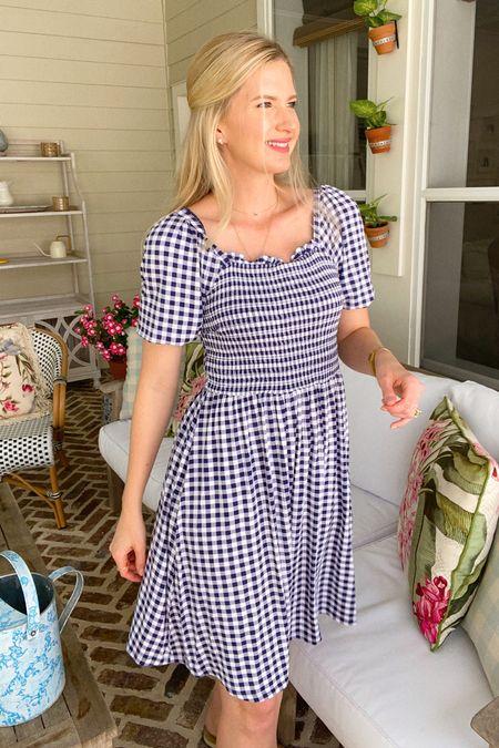 Navy blue smocked gingham dress   #LTKSeasonal