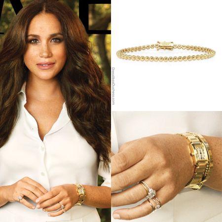 Meghan wearing Jennifer Meyer bezel bracelet #accessories #jewelry #look #ootd