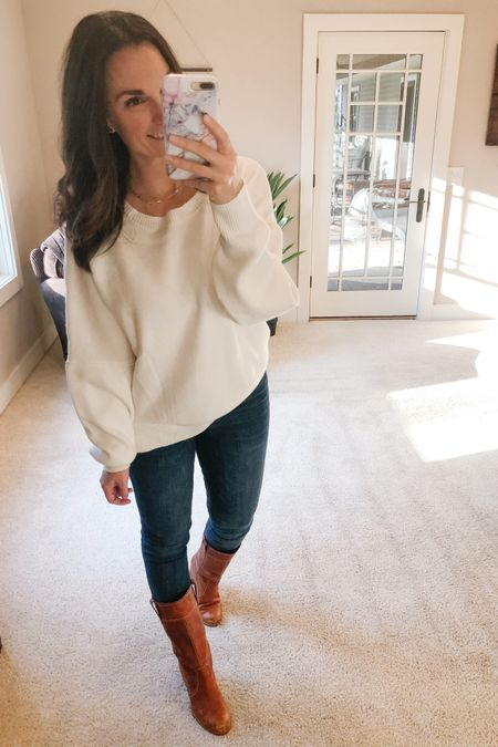 I absolutely love this crew neck pullover sweater! Such a great @amazon find! The side slits and the bat wing detail are perfect! I think I may order it in the mustard color that it also comes in. Adding cognac boots with basic jeans makes it a great seasonal look.   http://liketk.it/317KG #liketkit @liketoknow.it   You can instantly shop all of my looks by following me on the LIKEtoKNOW.it shopping app