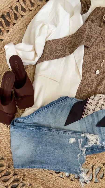 Friday… lunch with the girls look🍷🥗 . #flatlayfriday  Freepeople jeans, #forever21 bodysuit & shoes #blazerstyle, Gucci scarf    #LTKshoecrush #LTKstyletip #LTKworkwear