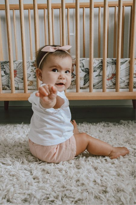 Sweet little babe! Her eyelet top and linen shorts are both from old navy!   #LTKbaby #LTKstyletip #LTKunder50