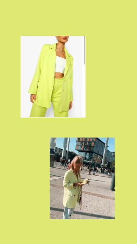 Neon blazer alert linked both blazers fy in this beautiful neon yellow color wearing size Medium/38 ✨✨   #LTKeurope #LTKunder100 #LTKunder50