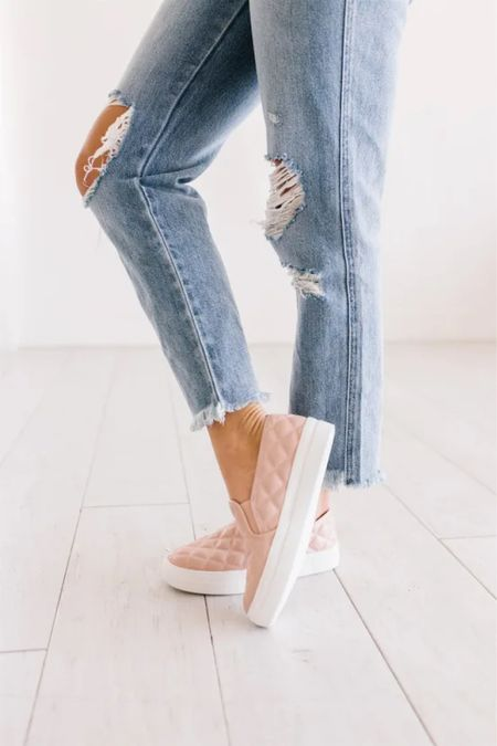 Every girl has to have a pair of quilted slide on sneakers like these! They are perfect as fall shoes or spring shoes and must be worn with jeans, joggers or leggings. These are on sale!  They are awesome in black for fall but I love the pale colors for spring. The white sneakers are the best in this wipe clean fabric!   #LTKunder50 #LTKshoecrush #LTKsalealert