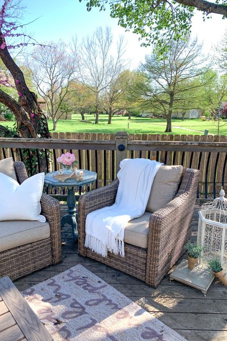 Create a warm and welcoming patio or outdoor space with this high quality 4-Piece Sofa Conversation Set patio set! The set includes the outdoor sofa, 2 outdoor chairs and the coffee table. This patio furniture is beautiful and looks like wicker, but it is all-weather wicker, which is a different type of material and incredibly durable!🙌 We've enjoyed this set for 3 years already and know it will last many years to come!  Our friends and family love to gather around this comfy & pretty spot!🌿   Shop home & Fave finds by following me on the LIKEtoKNOW.it shopping app 💕🙌    http://liketk.it/3fkhP #LTKhome #LTKfamily   #LTKsalealert #liketkit @liketoknow.it.home @liketoknow.it.family @liketoknow.it