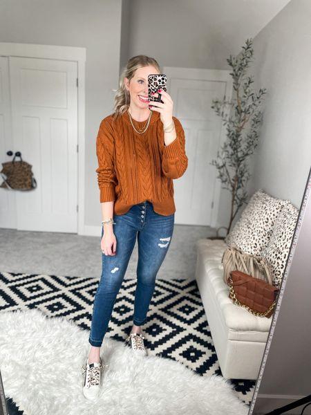 Walmart outfit Cable knit sweater- medium    #LTKunder50 #LTKstyletip #LTKshoecrush