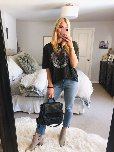 Nordstrom Anniversary Sale outfit  size up on in the jeans and the t-shirt is made oversized and I'm in a M. Booties need to size up 1/2 if you have wider feet   #LTKsalealert #LTKstyletip #LTKunder50