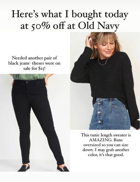 Old Navy super skinny high rise black jeans run true to size. Black waffle knit tunic sweater runs oversized. So cozy.    #LTKsalealert #LTKSeasonal #LTKcurves