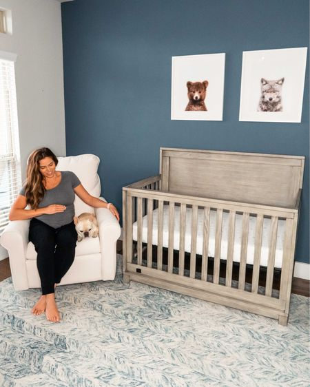 "Nursery decor ideas, baby boy nursery, animals, rustic farmhouse crib in color ""rustic white"", breathable mattress, sheets, blue and white rug, ivory performance fabric glider. http://liketk.it/309fU #liketkit @liketoknow.it   #LTKbaby #LTKhome #LTKbump"