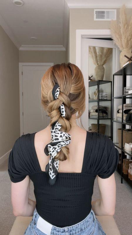 Vacation hair, anyone? Love this Dutch braid featuring a leopard scarf.   #LTKunder100 #LTKstyletip #LTKtravel
