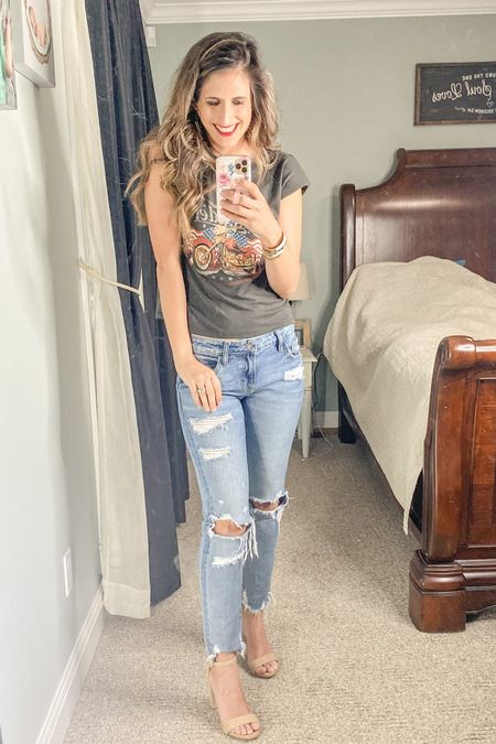 Friday night out! These jeans can't be links so I found some others that are similar!   http://liketk.it/3iW58 @liketoknow.it #liketkit #LTKstyletip #LTKshoecrush #LTKsummer  Shop your screenshot of this pic with the LIKEtoKNOW.it shopping app. Follow me on the LIKEtoKNOW.it shopping app to get the product details for this look and others!