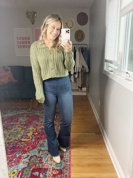 Target outfit ideas for fall: the collared sweater trend is going to be everywhere this fall and winter! Paired it with a pair of bell bottom jeans, another target find and the cutest western booties.   #LTKshoecrush #LTKunder50 #LTKstyletip