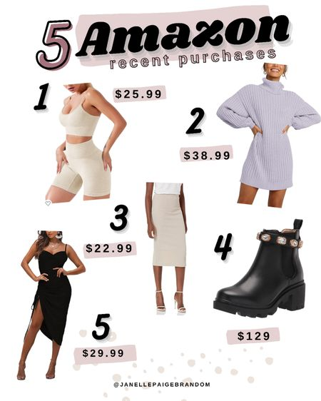 Latest fashion finds from Amazon that I've purchased!   Fall Steve Madden boots Shein ribbed skirt Workout set Satin dress - perfect for date night or wedding guest dress  Fall sweater dress