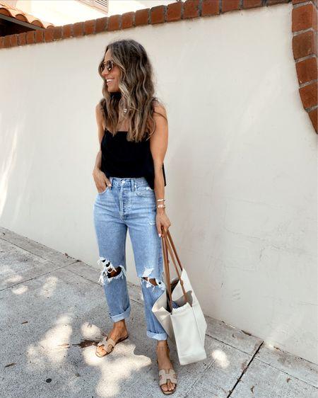 90's jeans + black airy cami //   #LTKunder50 #LTKstyletip