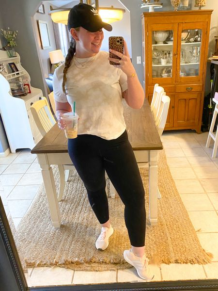When your coffee matches your shirt☕️  This is one of my favorite outfits for spring! Just warm enough, but not too hot for the 60-70° days. ☀️  My top fits TTS I have on a medium. It has a little bit of a crop to it & full price it's only $8. 🤩 Unfortunately the Aerie crossover leggings are sold out at the moment (again!), but keep an eye out for a restock. I sized up to a large in these for a comfy fit. My pink Adidas also run TTS and I'm wearing a 7.5. 👟🛍    http://liketk.it/39J0y @liketoknow.it #liketkit #LTKstyletip #LTKunder50 #LTKunder100