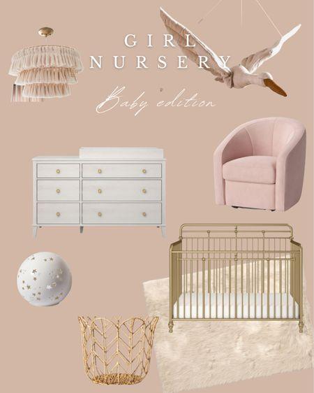 Baby girl nursery, nursery Inspiration, crib, glider, rocker, dresser, nursery wallpaper http://liketk.it/3hSu8 #liketkit @liketoknow.it #LTKbaby #LTKunder50 #LTKfamily