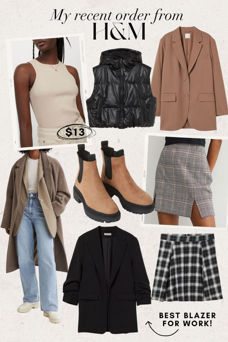 Fall Finds • H&M recent order!  Full outfit, fall jacket, fall coat, early fall outfit, casual fall outfit, long jacket, pleated skirt, plaid skirt, shacket, plaid shacket, blazer, oversized blazer, quilted vest, puffer vest
