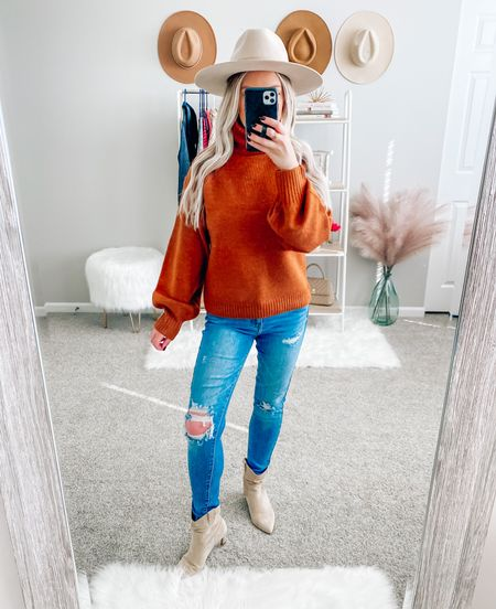 Chunky ribbed turtleneck sweater 🍂 I love the rust color + the material is so incredibly soft! Wearing a small! . . . Rust sweater, turtleneck sweater, turtleneck, jeans, booties, fall booties, hat, fall hat, thanksgiving outfit   #LTKunder50 #LTKSeasonal #LTKstyletip