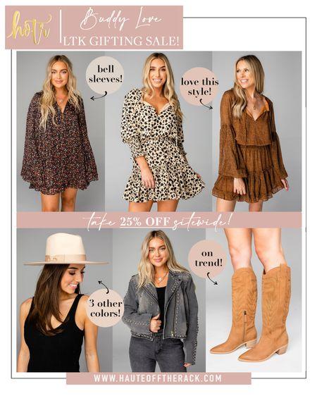 LTK gifting sale at buddy love! Last day to shop! #falloutfit #fallfashion #falldress #westernboots  #denimjacket #leopardprintdress #LTKDay   #LTKSale #LTKHoliday #LTKGiftGuide