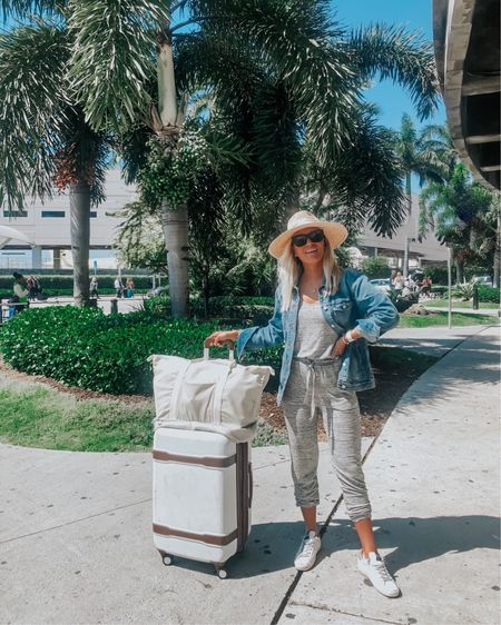 travel outfit, jumpsuit, golden goose, jean jacket, travel style spring break @liketoknow.it http://liketk.it/2KVN3 #liketkit #LTKunder50 #LTKstyletip