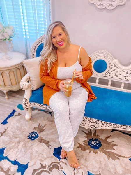 Cozies and PSLs … BRING IT ON!   Don't care if it's still summer and in the 90s … it brings me joy and that's what the world needs right now. Who is with me?! 🎃 ☕️   Wearing an XL in this lounge set.     #LTKcurves #LTKhome #LTKbump