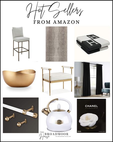 Amazon home, Amazon finds, counter stools, barstools, kitchen Decour, antelope rug, animal print rug, neutral rug, Hermès inspired blanket, black and white blanket, black-and-white home, brass candle, gold candle, vanity stool, white bench, brass bench, glam home, black velvet curtains, Amazon curtains, acrylic curtain rod, brass curtain rod, Brass Kitchen, Brass Decor, tea kettle, white tea kettle, Chanel book, coffee table book, living room decor, kitchen Decor, bedroom decor  #LTKshoecrush #LTKstyletip #LTKhome