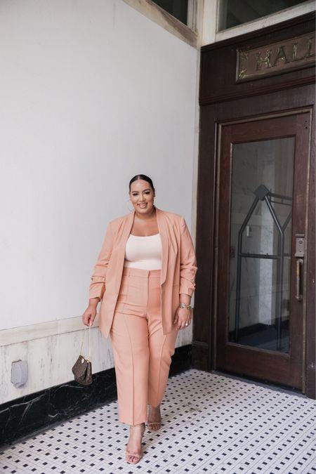 Blush suit, tan suit, ASOS, neutral  #plus #curvy #worksuit   #LTKworkwear #LTKcurves