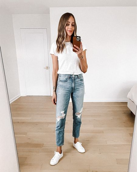 My favorite white tshirt (size small) ripped jeans (size up) and white sneakers (tts)   #LTKstyletip #LTKunder100 #LTKshoecrush